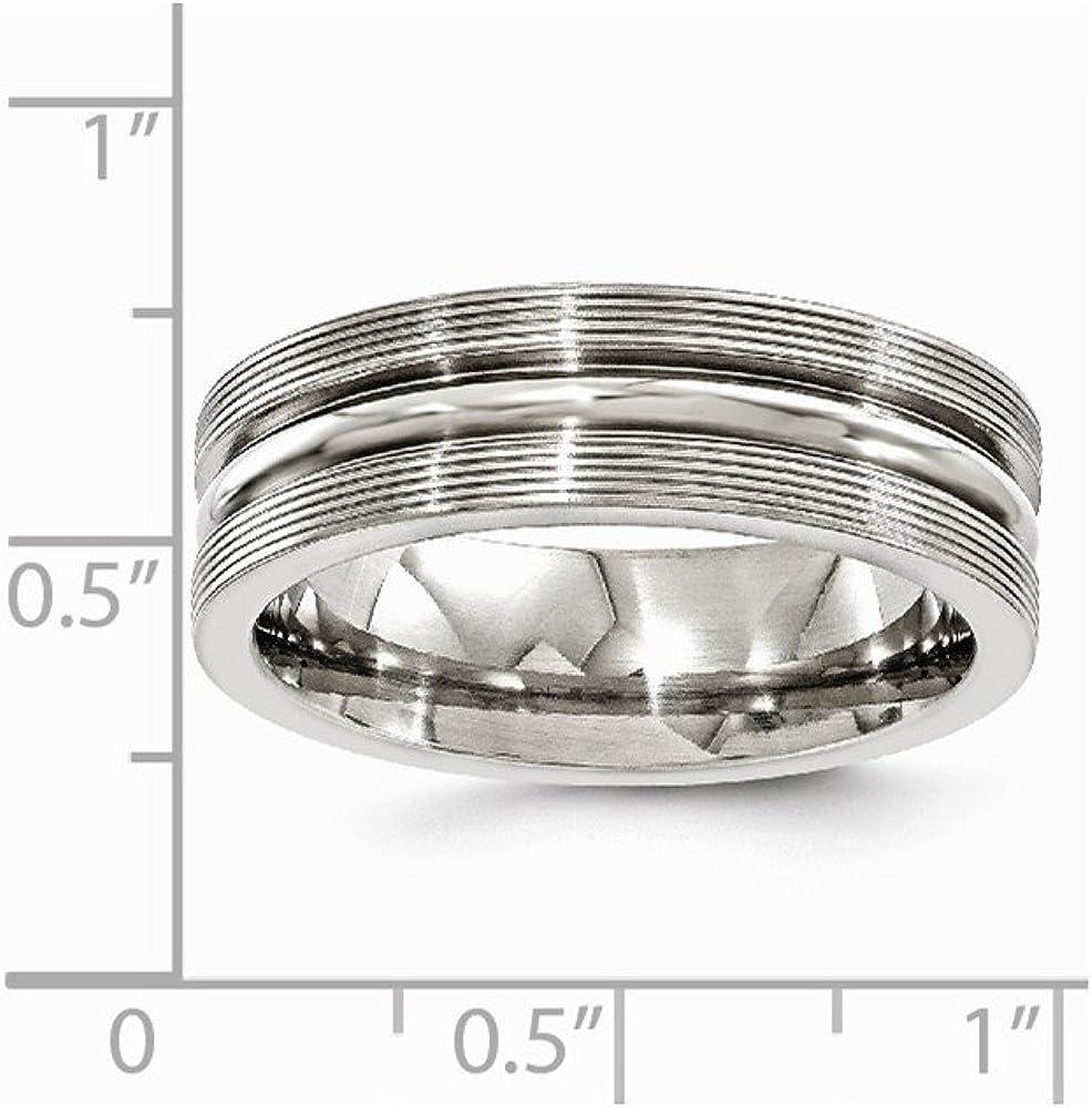 FB Jewels Solid Edward Mirell Titanium Brush/&Polished Textured Lines 7mm Wedding Band