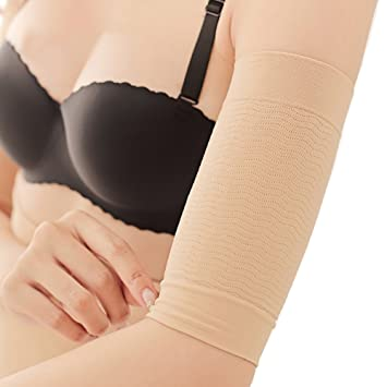 92ddb4f2bf299 2 Pairs(Black+Nude) Slimming Compression Arm Sleeve Shaper Support Wrap  Calories Off