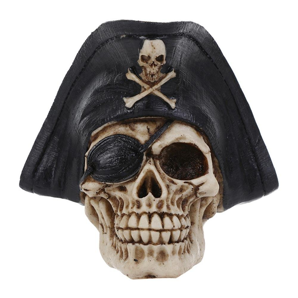 High Precision Replica Resin Human Skull Head Skeleton Figurine Statue with Black Steampunk Pirate Hat, 4.9 X 5.1 X 5.5 Inches 17Rainbow