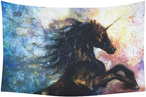 INTERESTPRINT Oil Painting Wall Art Home Decor, Unicorn Abstract Art Tapestry Wall Hanging Art Sets 60 X 40 Inches