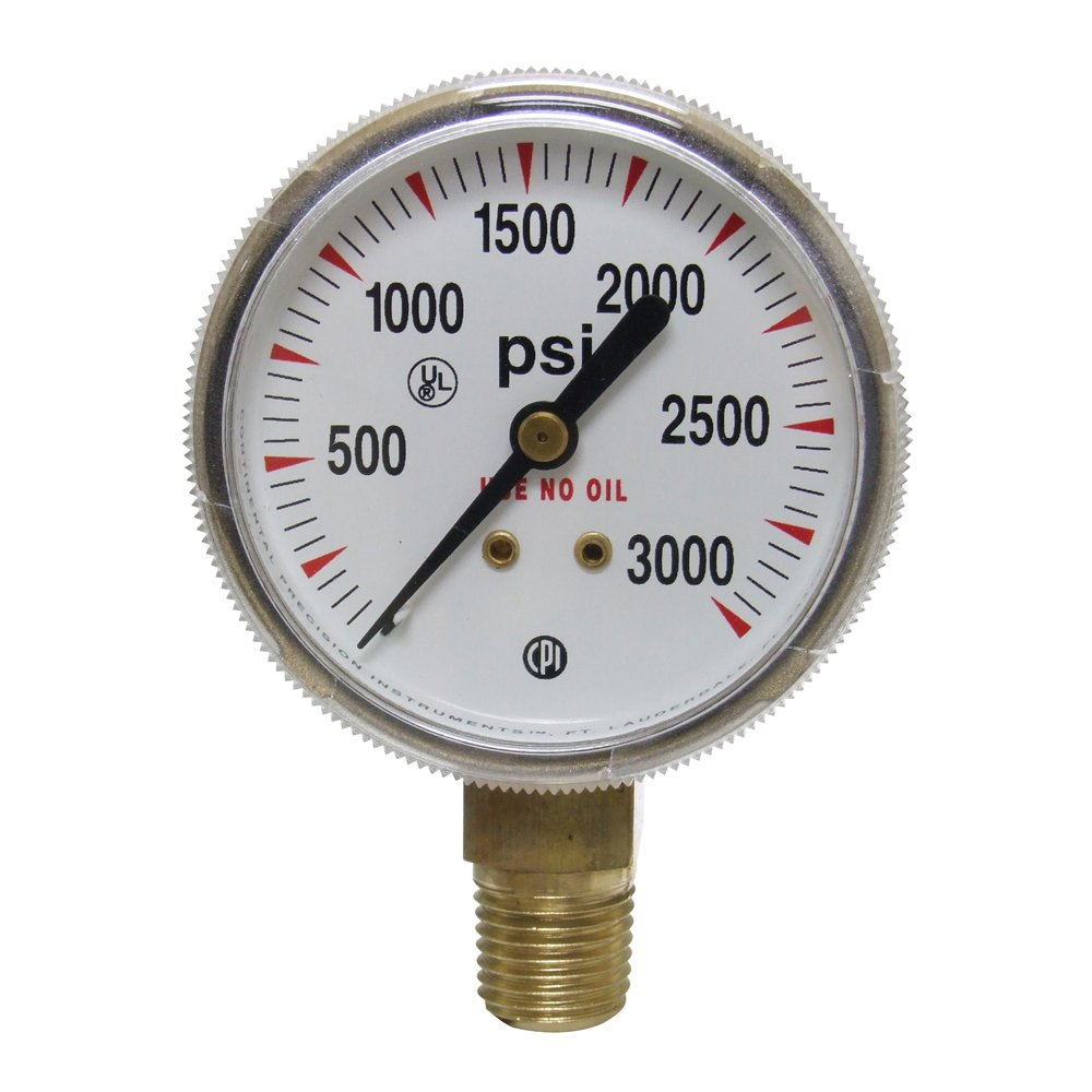 Uniweld G3S Gauge with 0-3000 PSI and 1/4-Inch NPT Bottom Mount Gold Steel Case, 2-Inch