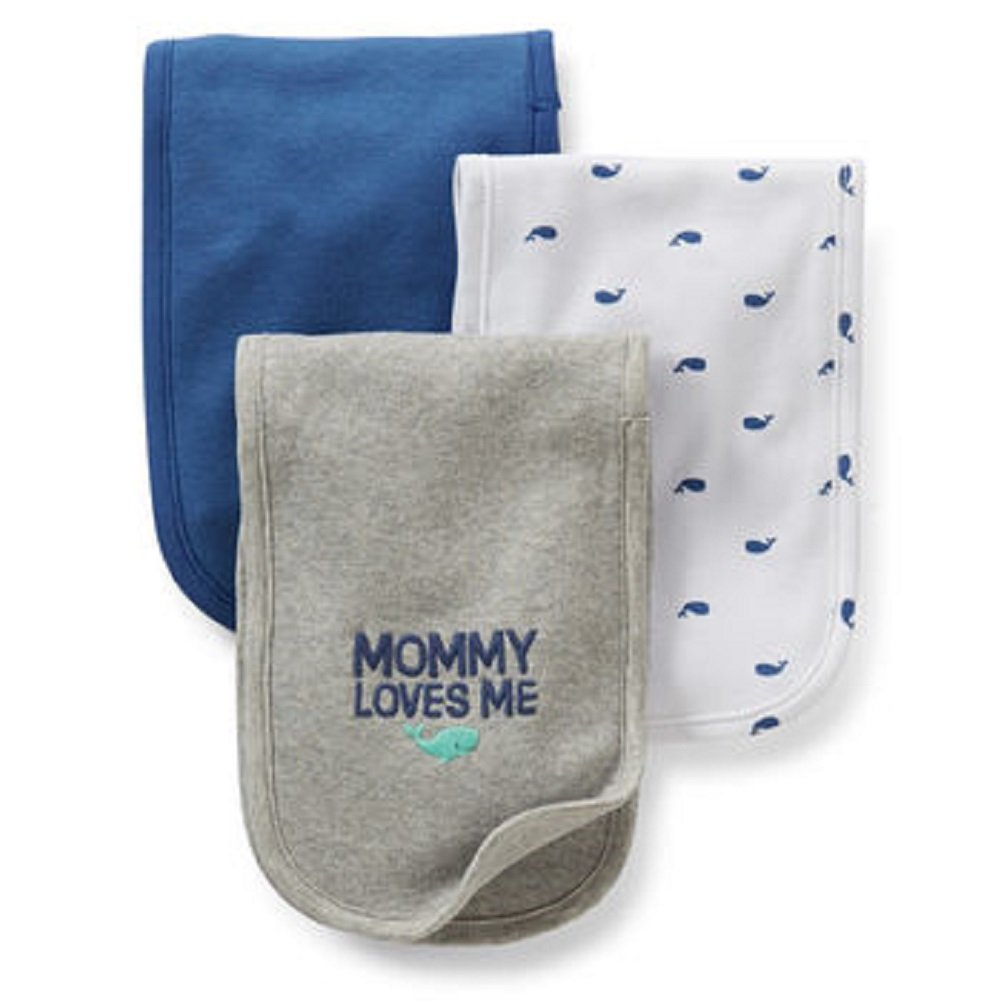 Amazon Com Carter S Baby 3 Pack Burp Cloths Whale Mommy Loves Me