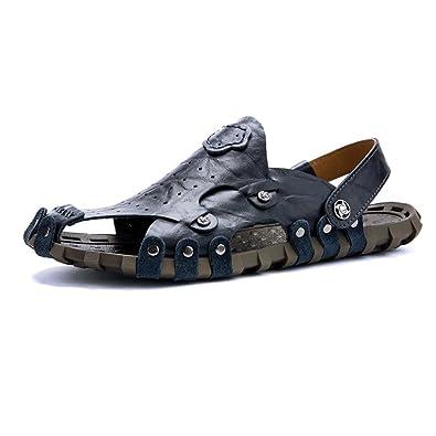 Chaussons pour hommes Pantoufles de plage en cuir véritable Sandales décontractées Respirant antidérapant Doux plat Fermé Toe Backless réglable ,Pour Hommes ( Color : Blue , Size : 44 EU )