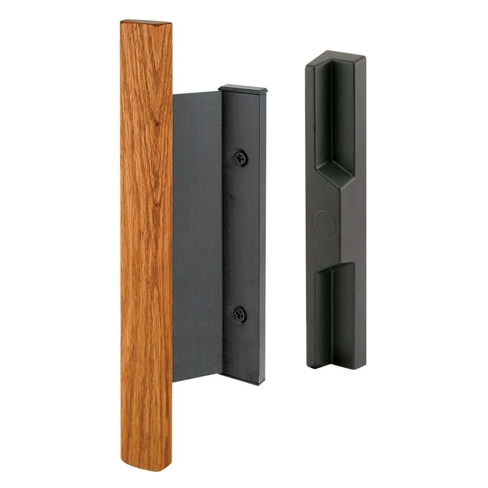 Prime-Line Products C 1091 Sliding Door Handle Set with Heavy Duty Wood Handle, Black