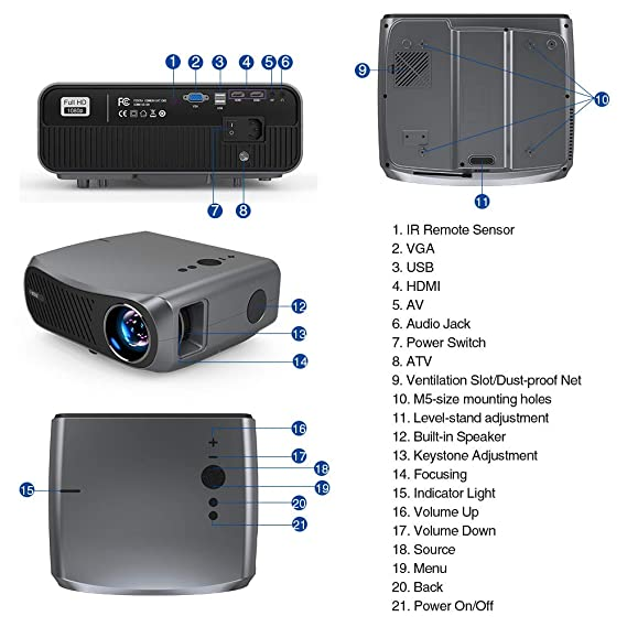 Nativo 1080P Video Proyector, 5500 Lúmenes Soporte 4K Multimedia ...