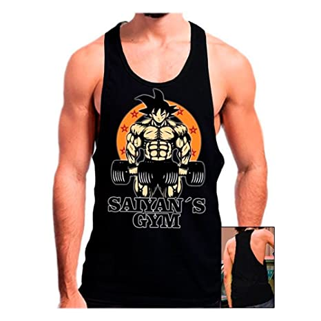 Camiseta Gimnasio Saiyans Gym (Dragon Ball) (L, Negro)