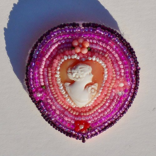 (Vintage Hand Carved Heart Shell Cameo Pendant Brooch, with Pearls, Coral, Pink, Mauve, Fuchsia, Opal & Silver Lined Burgundy Seed Beads . One of a Kind!)