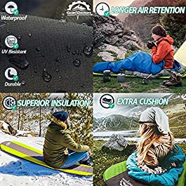 Gear Doctors Self Inflating Sleeping Pad – 4.3 R Four Season Camping pad-1.5 Inch Thick Air Foam Hybrid- Perfect Size Mattress for Camping Backpacking Travel with Insulation for Cold Winters