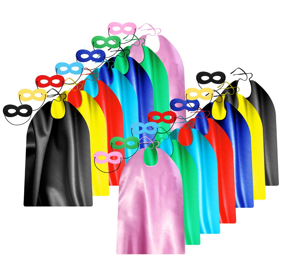 Adult Superhero Capes and Masks Bulk Pack for Men & Women - Dress Up Superhero Party Costumes for Team Building - 14 Sets