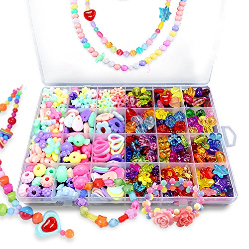 Beads Kits Set for Kids Children Craft Jewelry Making Craft DIY Necklace Bracelets Colorful Acrylic Crafting Beads Girls Gift for Children's Day Christmas (#1)