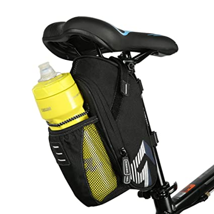 Allnice Bike Saddle Bag, 1.6L Mountain Road MTB Bicycle Cycling Polyester Saddle Bag with Pocket for Water Bottle, Bike Under Seat Rear Bag Repair ...