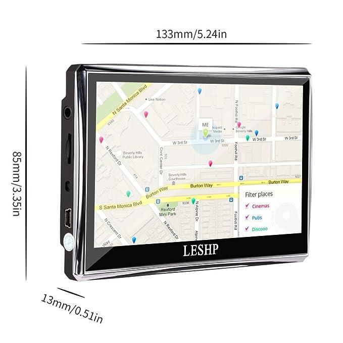 LESHP GPS Navegador para Coche, Pantalla Táctil 5 Pulgadas con FM 8GB/128M Actualización Gratis para Europa Toda la Vida: Amazon.es: Electrónica