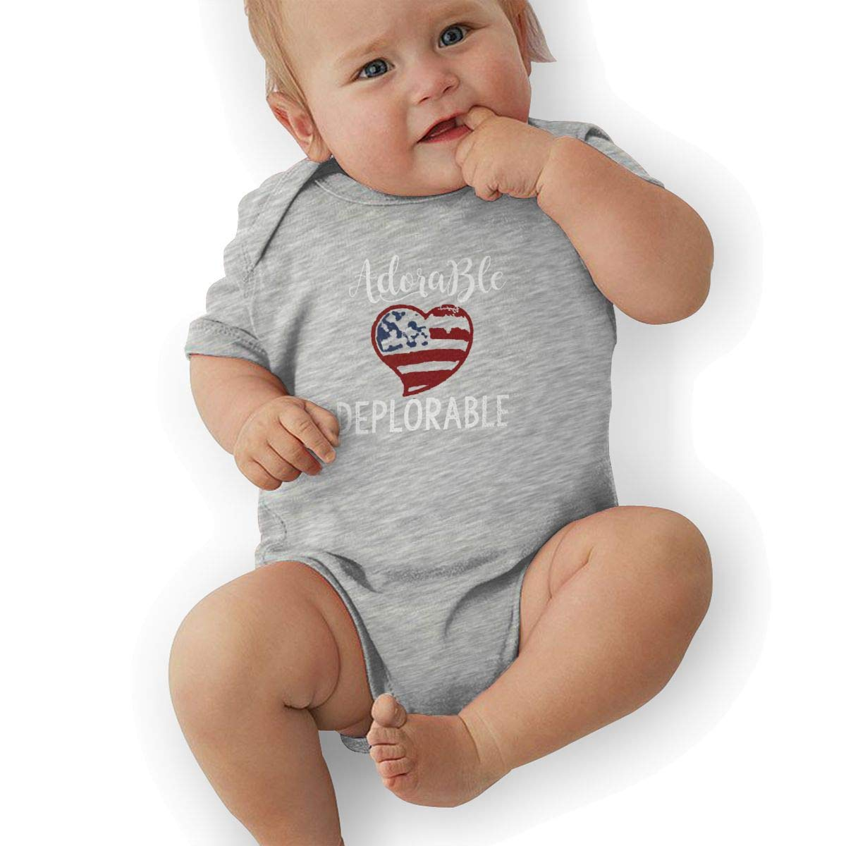 Bodysuits Clothes Onesies Jumpsuits Outfits Black HappyLifea USA Flag Heart Political Adorable Deplorable Baby Pajamas