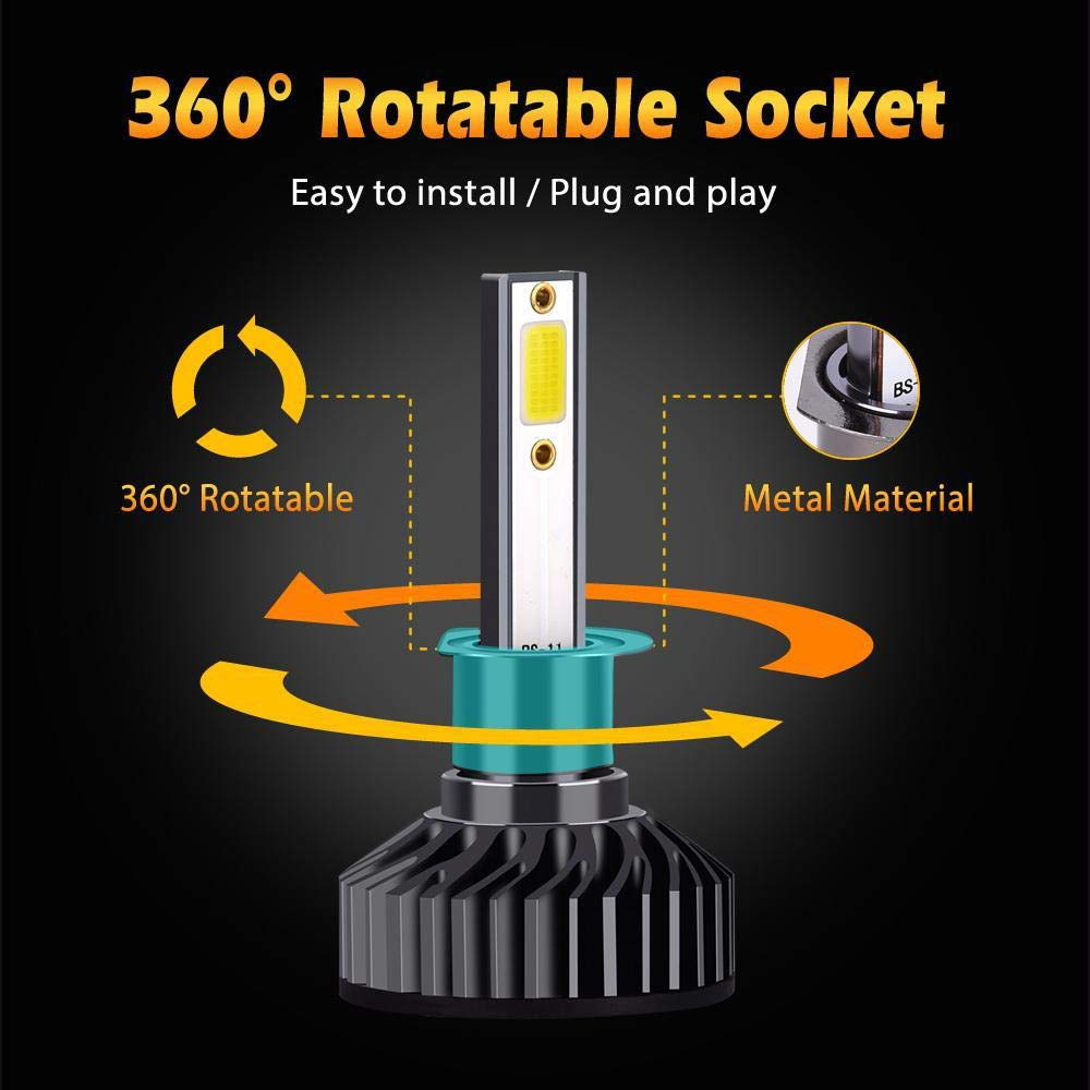 72W 8000LM 6500K Super Brillante HB2 9003 reemplazo de la l/ámpara del autom/óvil con Chips COB Avanzada para Coche leegoal impermeable 2pcs H4 LED Faro Bombillas