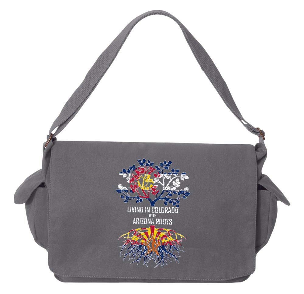 Tenacitee Living In Colorado with Arizona Roots Grey Brushed Canvas Messenger Bag