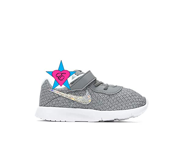 17410ac292e Image Unavailable. Image not available for. Color  Rhinestone Crystal  Bedazzled Girls  Gray Nike Infant Tanjun Sneakers