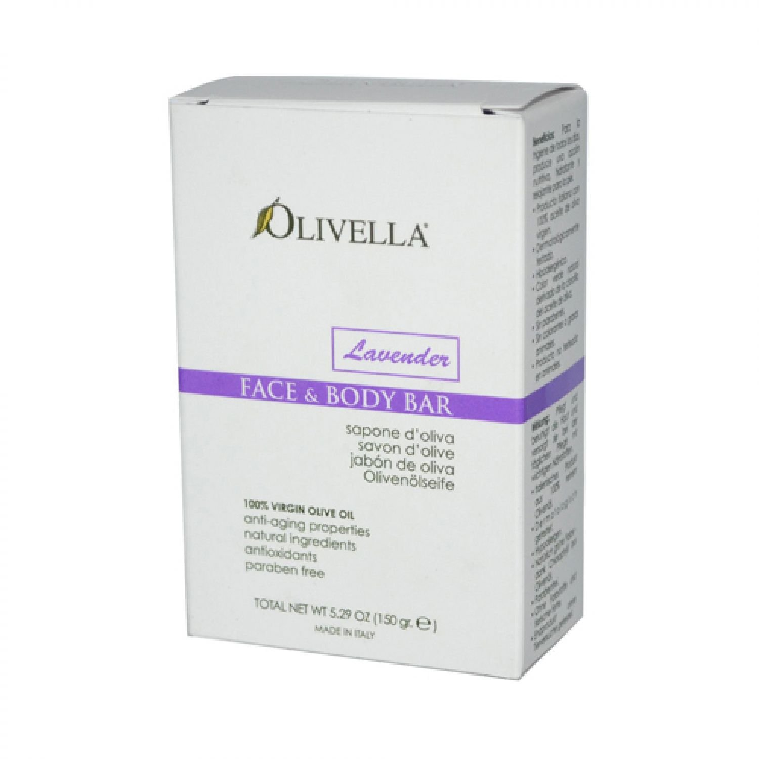 Olivella Face and Body Bar Soap, Lavender, 5.29 Ounce