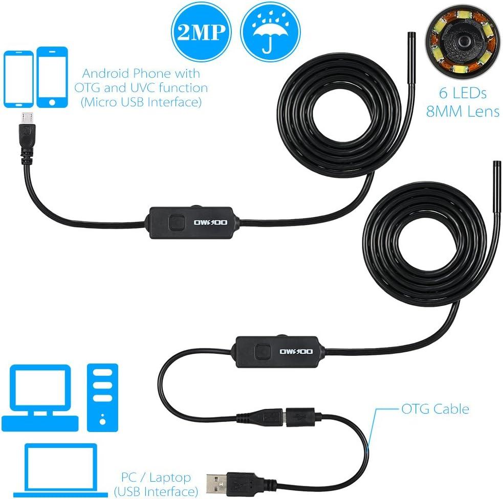 IP67 /étanche Borescope Inspection 2,0 m/égapixels HD cam/éra Snake avec 8 lumi/ères LED r/églables pour Smartphone Android Samsung Galaxy Huawei Nubia Festnight Cam/éra dinspection USB Snake