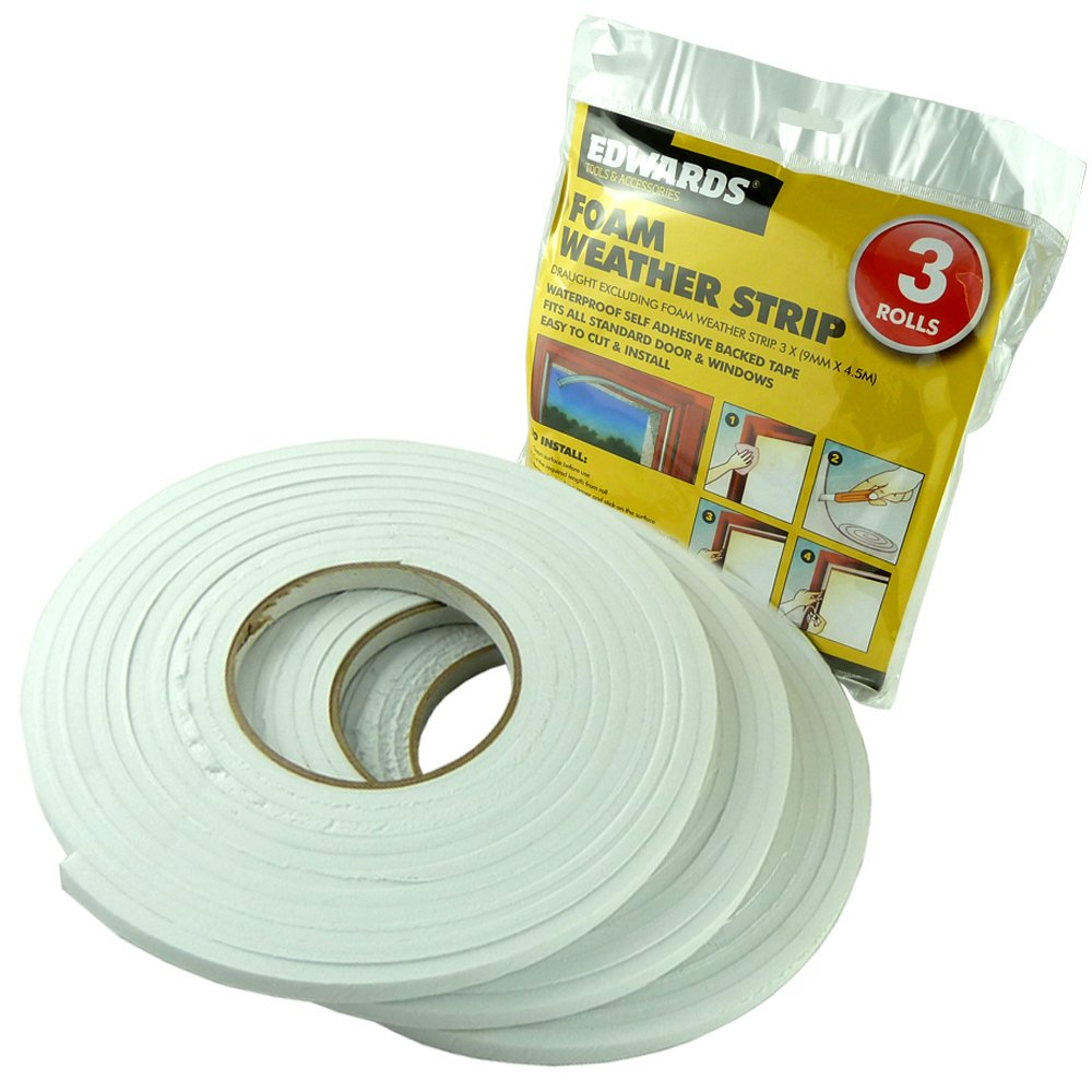 3 ROLLS DRAUGHT EXCLUDER FOAM - WATERPROOF SELF ADHESIVE BACKED TAPE - IDEAL FOR DOOR AND WINDOWS Value 4 Money