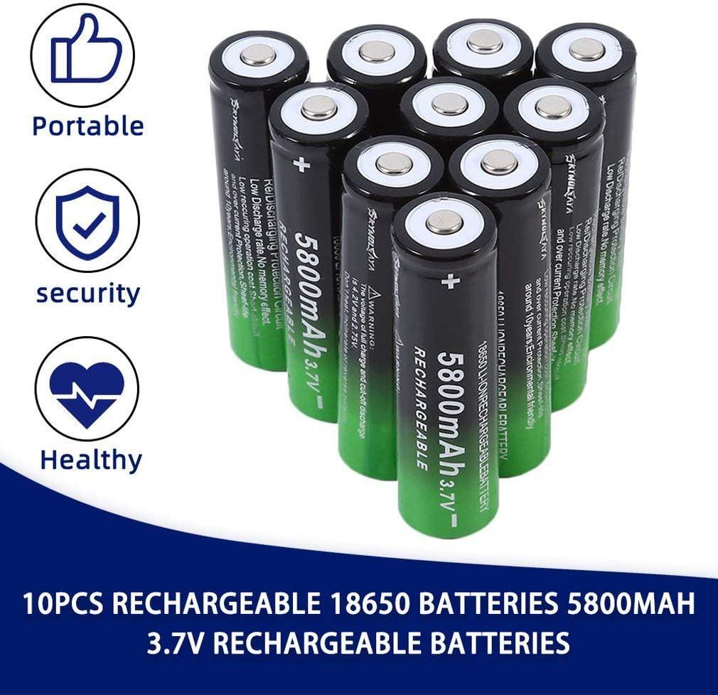18650 Batteria Ricaricabile 3.7V 5800mAh Li-ion 18650 Pile Ricaricabili Alta Capacit/à Ricaricabili Batterie Perfetto per Apparecchiature Elettroniche Torcia A Led 10 Pezzi Nero