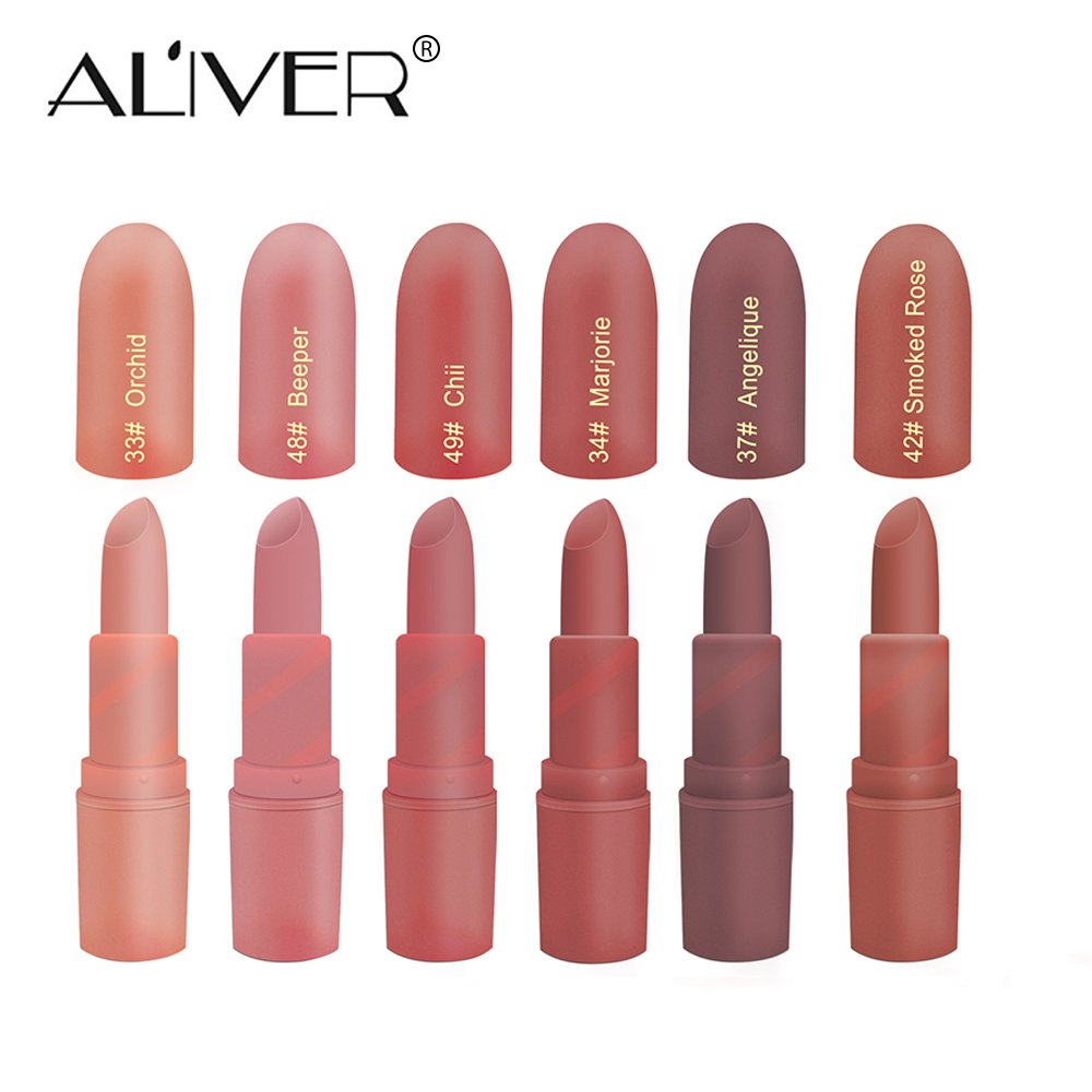 Matte Lipstick,Aliver 6 Colors Lipsticks Set Matte for Girls Women Waterproof Long-Lasting Moisturizing Makeup Lipsticks,Nude and Natural Color Dark by God Blomster