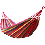 Enkeeo Portable Hammock for Camping Backpacking Hiking, Woven Cotton Fabric, 2 Premium 9.84ft Ropes, A Carrying Case, Max 220kg Capacity, Max 200x150cm, Rainbow Striped