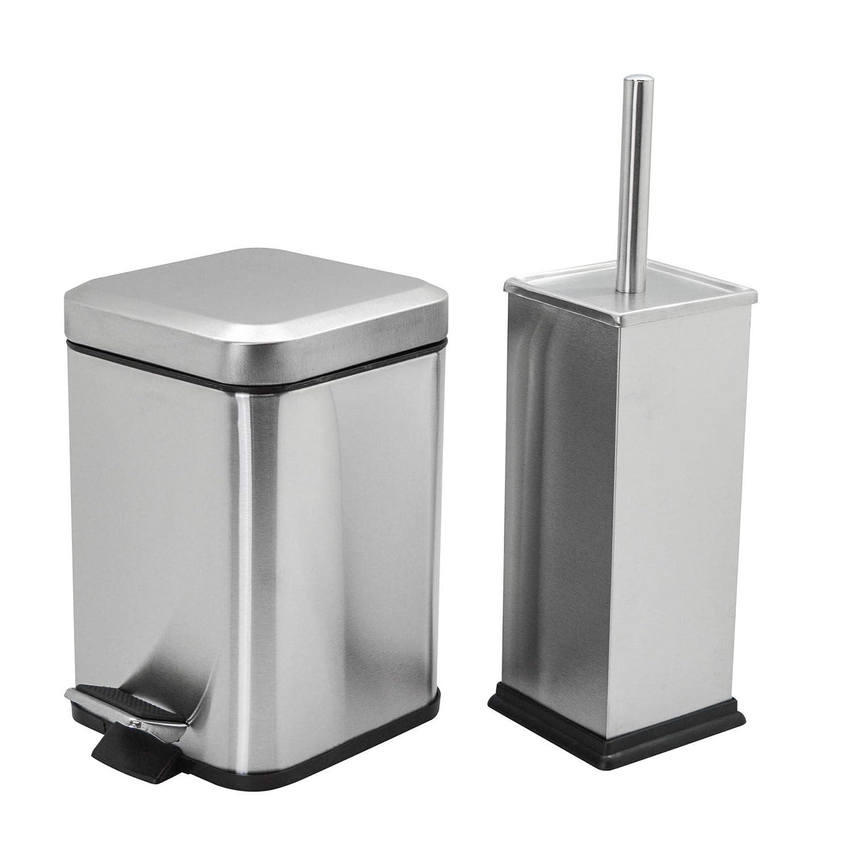 Harbour Housewares Square Steel Bathroom Pedal Bin & Toilet Brush Set - Brushed Metal