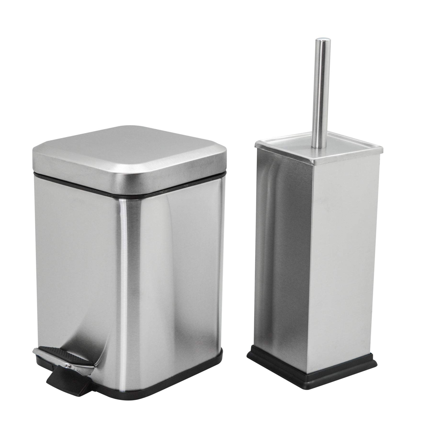 Harbour Housewares Square Steel Bathroom Pedal Bin (3 litres) & Toilet Brush Set - Brushed Metal