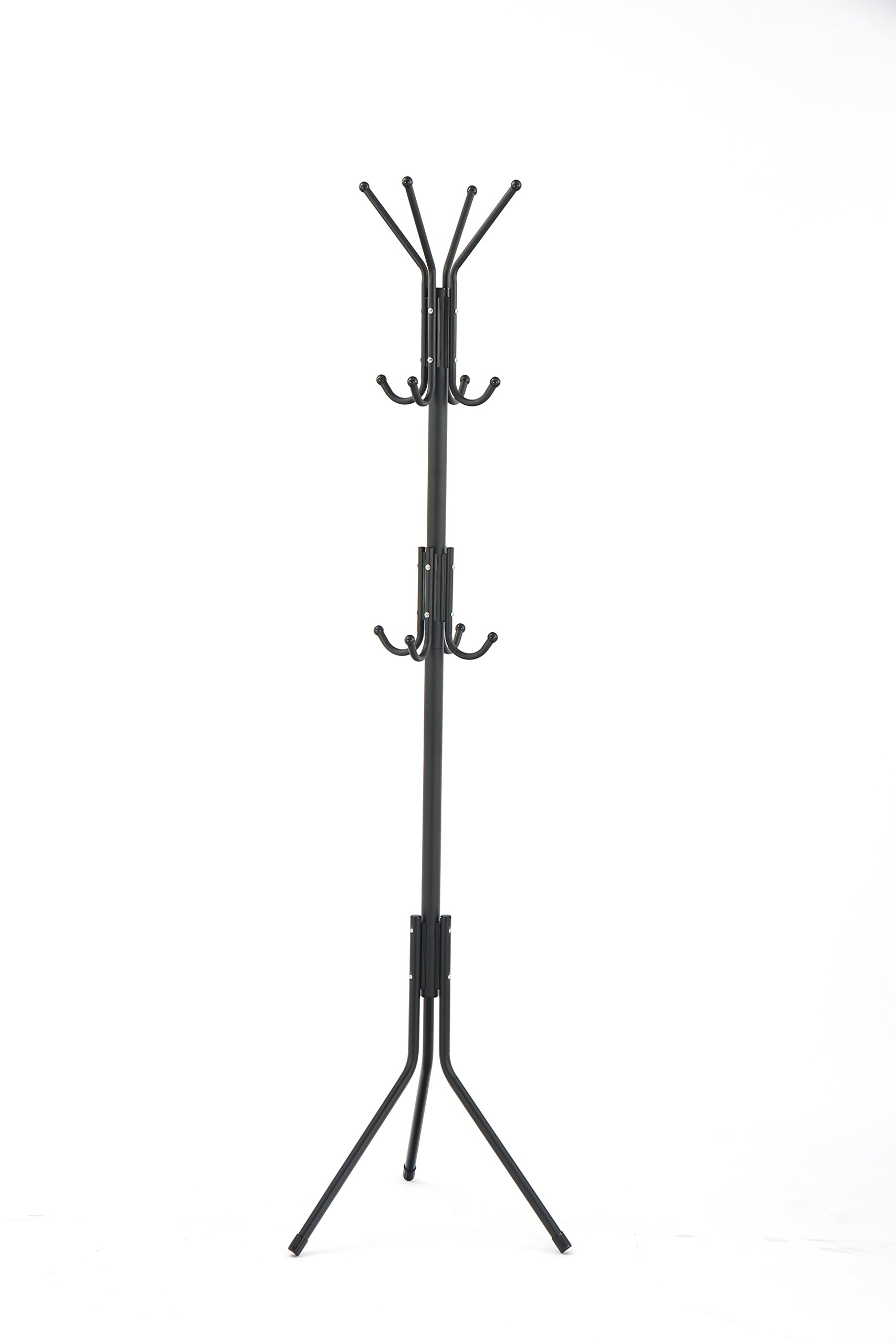 LCH Metal Coat Rack Free Display Stand Hall Tree with 3 Tiers and 12 Hooks for Clothes Scarves Purses and Hats