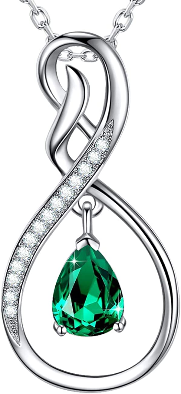 Birthday Gifts for Wife Green Emerald Necklace for Women Anniversary Gifts Infinity Love Sterling Silver Necklace