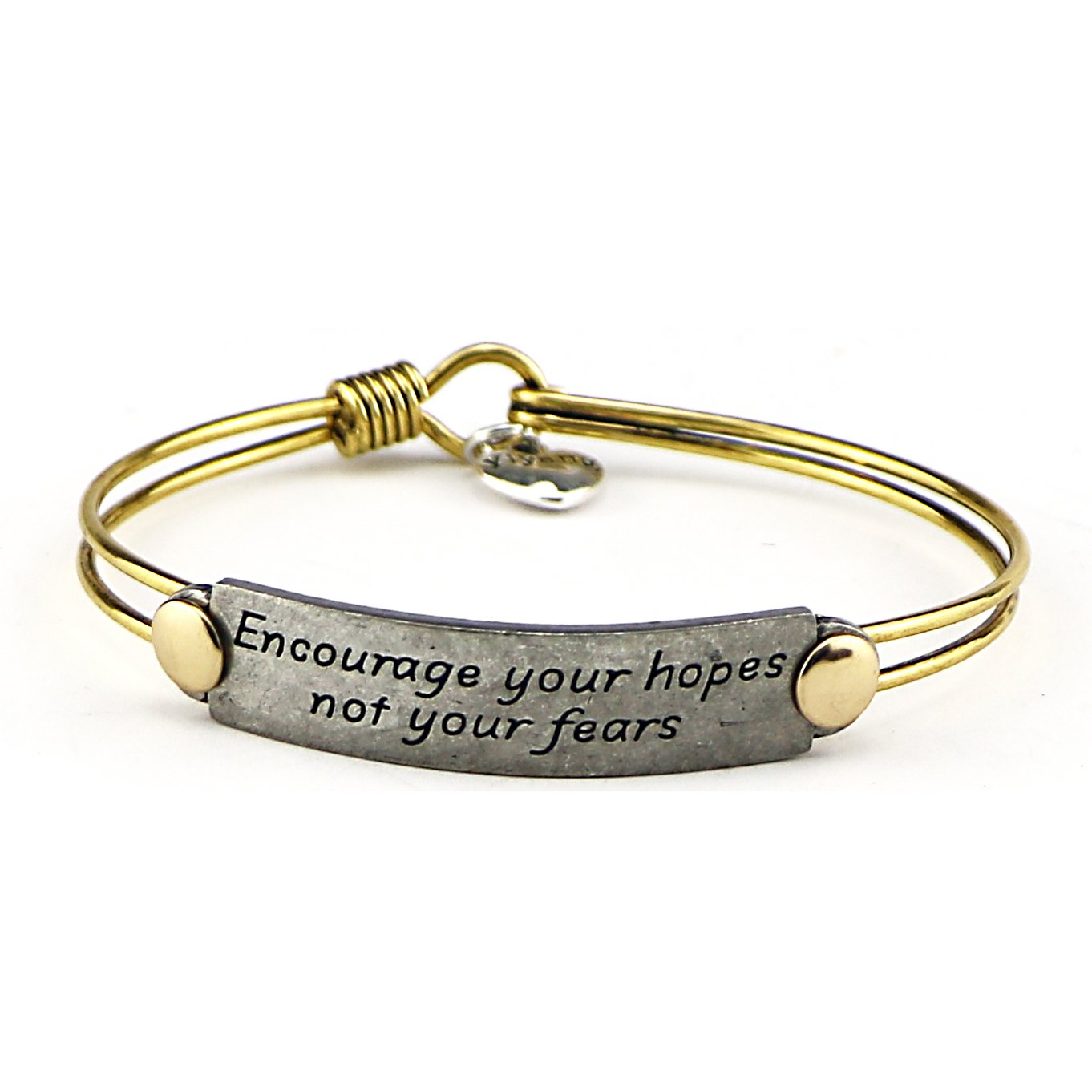 Inspirational Friendship Handmade Vintage Antique Brass Wire Bangle Bracelet Jewelry Gift Quotes Mantra Saying by Yiyang