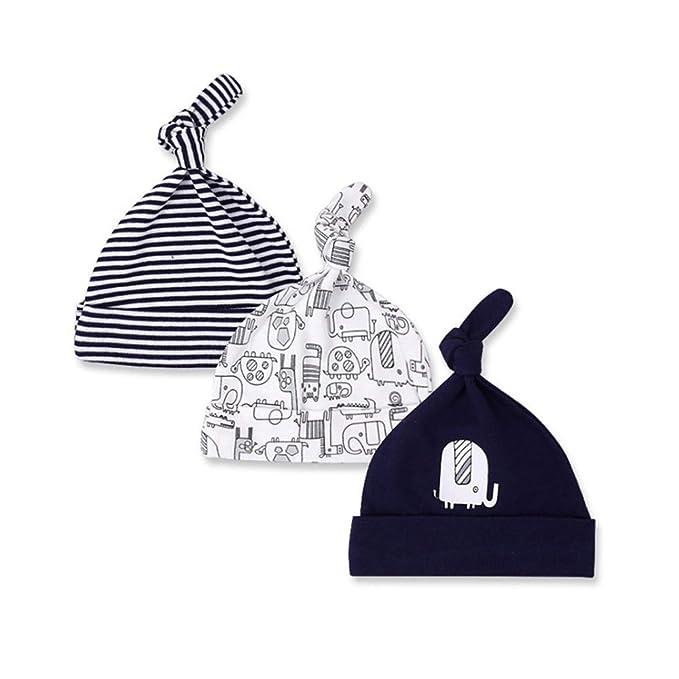 Casa Cappello Unisex 3 Pezzi Neonato Berretto di Cotone  3767ebd5f75c