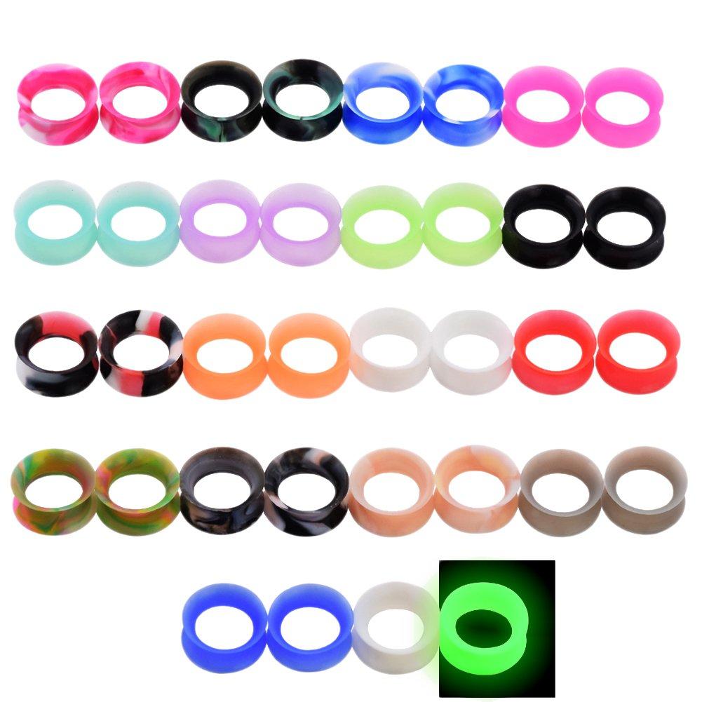 D&M Jewelry 36pcs Thin Silicone Flexible Ear Skin Tunnels Ear Plug Stretcher Expander Ear Piercing Jewelry Muliti-colors 2g-5/8 Qianmin Co.Ltd CW065-10MM