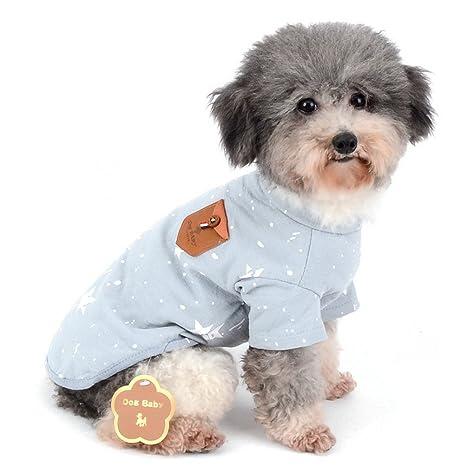Zunea Camiseta para perro (algodón suave, diseño de estrellas ...