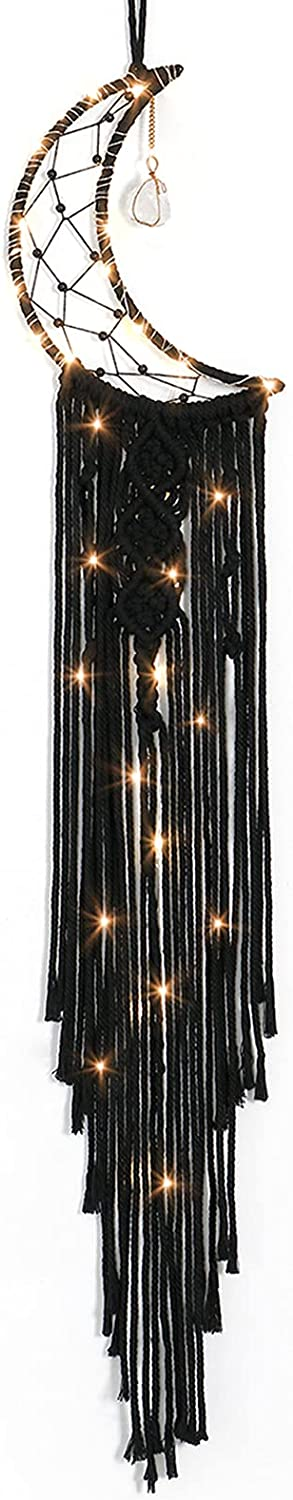 LOMOHOO Macrame Wall Hanging Black Moon Dream Catcher with Crystal Stone Boho Woven Macrame for Kids Bedroom Decor Bohemian Home Decoration Apartment Ornament Craft Gift (Black-1)