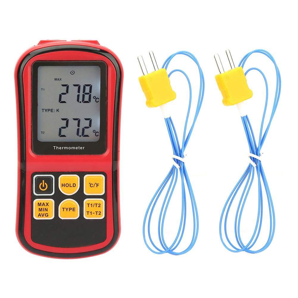 Lechnical Sensor de Temperatura de medidor de Temperatura de Agua de cami/ón Digital LED Redondo para Coche Temperatura Moto Volt/ímetro Volt/ímetro Medidor de Voltaje 2 en 1 12V 24V