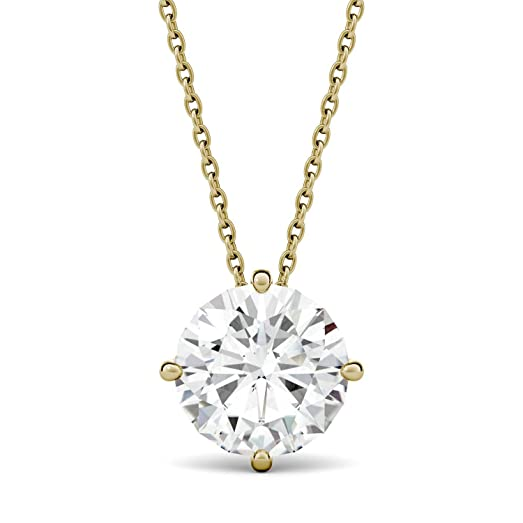 celestial gold solitaire ct kt pendant premier p necklace cable white moissanite products chain