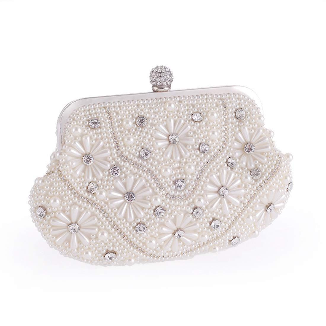 Color : White QARYYQ New Womens Bag Fashion Pearl Evening Party Bride Bag Wedding Bag Hand Chain Shoulder Bag Evening Package