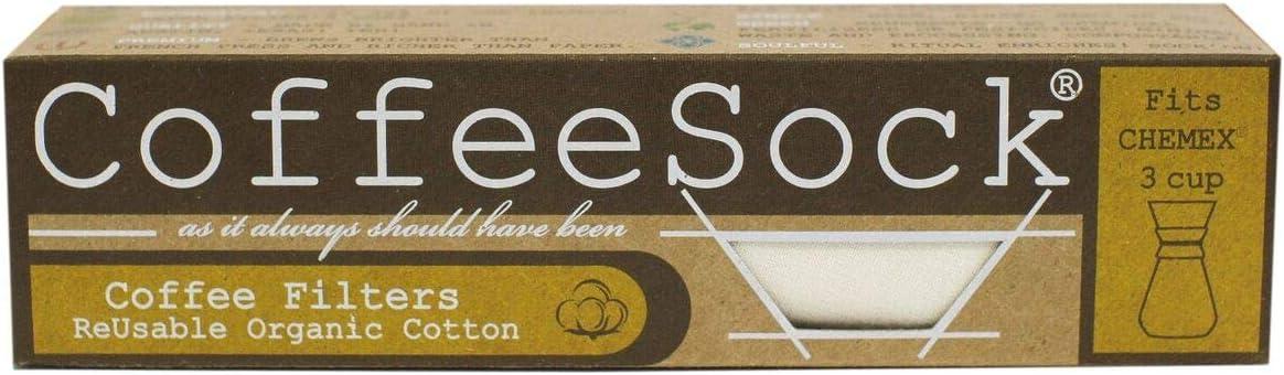 Coffeesock Reusable Filters gemacht zu passen Chemex 3 Cup Carafes (4 Filters)-die Original Reusable Coffee Filter- Gots Certified Organic Cotton Reusable Coffee Filters (Chemex 3 Double Up)
