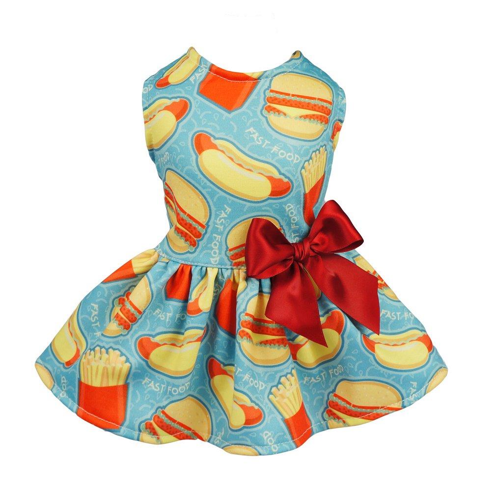 Fitwarm Hamburger Pet Clothes for Dog Dresses Cat Vest Shirts Blue XS