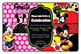 Custom Birthday Party Invitation - Minnie and Mickey, Siblings, Boy and Girl, Twins, Personalized (20 count)