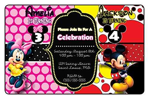Custom Birthday Party Invitation - Minnie and Mickey, Siblings, Boy and Girl, Twins, Personalized (20 (Mickey And Minnie Party Invitations)