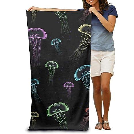 BINGOING Toallas de Playa Personalizadas Jellyfish Plankton absorbentes de Microfibra para secar en la Piscina,