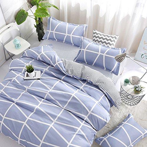 Bedding Children Duvet Cover Set Flat Bed Sheet Pillowcase No Comforter 4pcs SJD Twin Full Queen Full Love Lasting Stripe lattices Designs for Kids Children (Lasting Stripe,Blue, Twin,59''x78'') by Nova (Image #2)