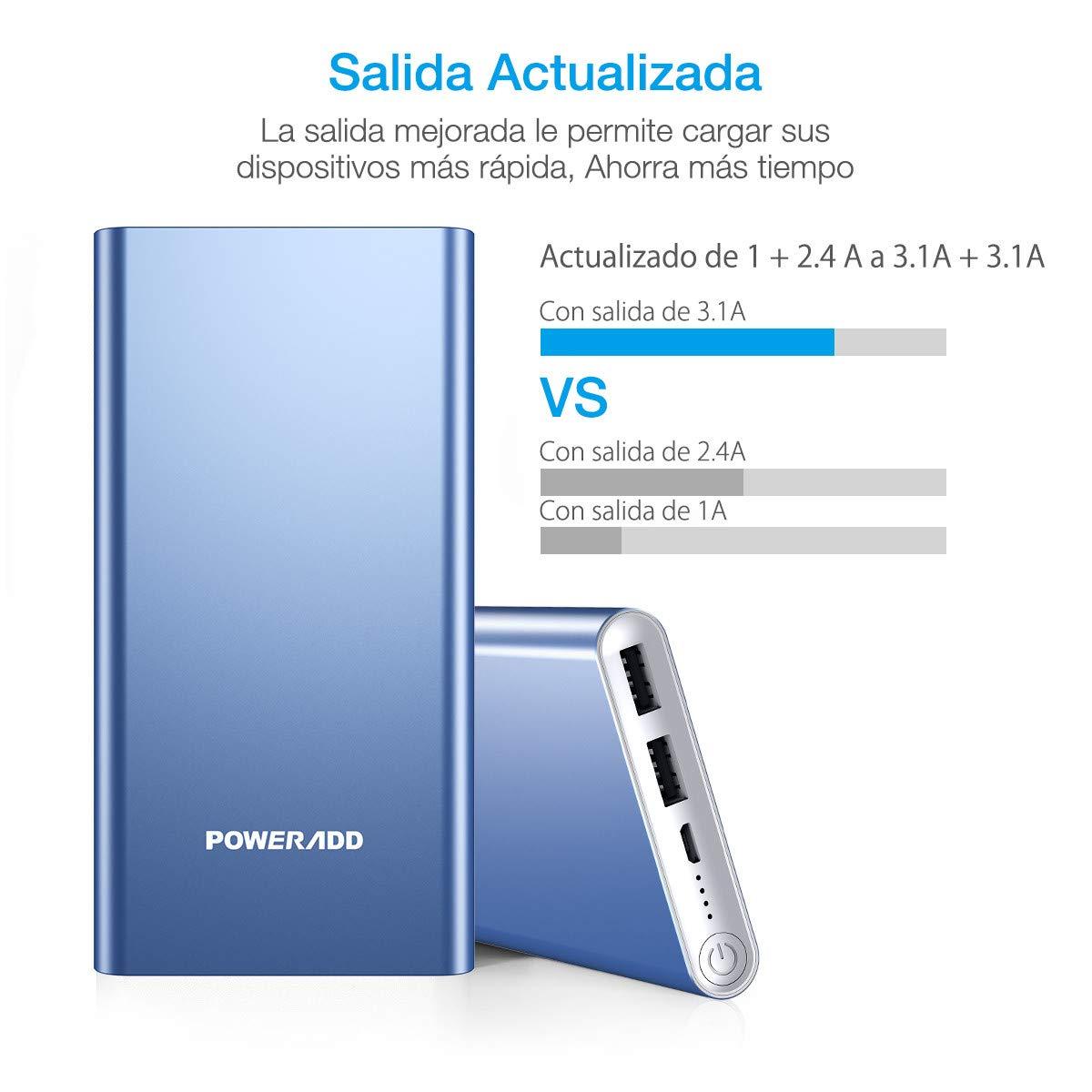 POWERADD Versi/ón Mejorada Pilot 2GS Power Bank 10000mAh Cargador Port/átil Bater/ía Externa para iPhone iPad Rojo Samsung y M/ás Huawei Doble Puerto de Salida, 3.1A+3.1A