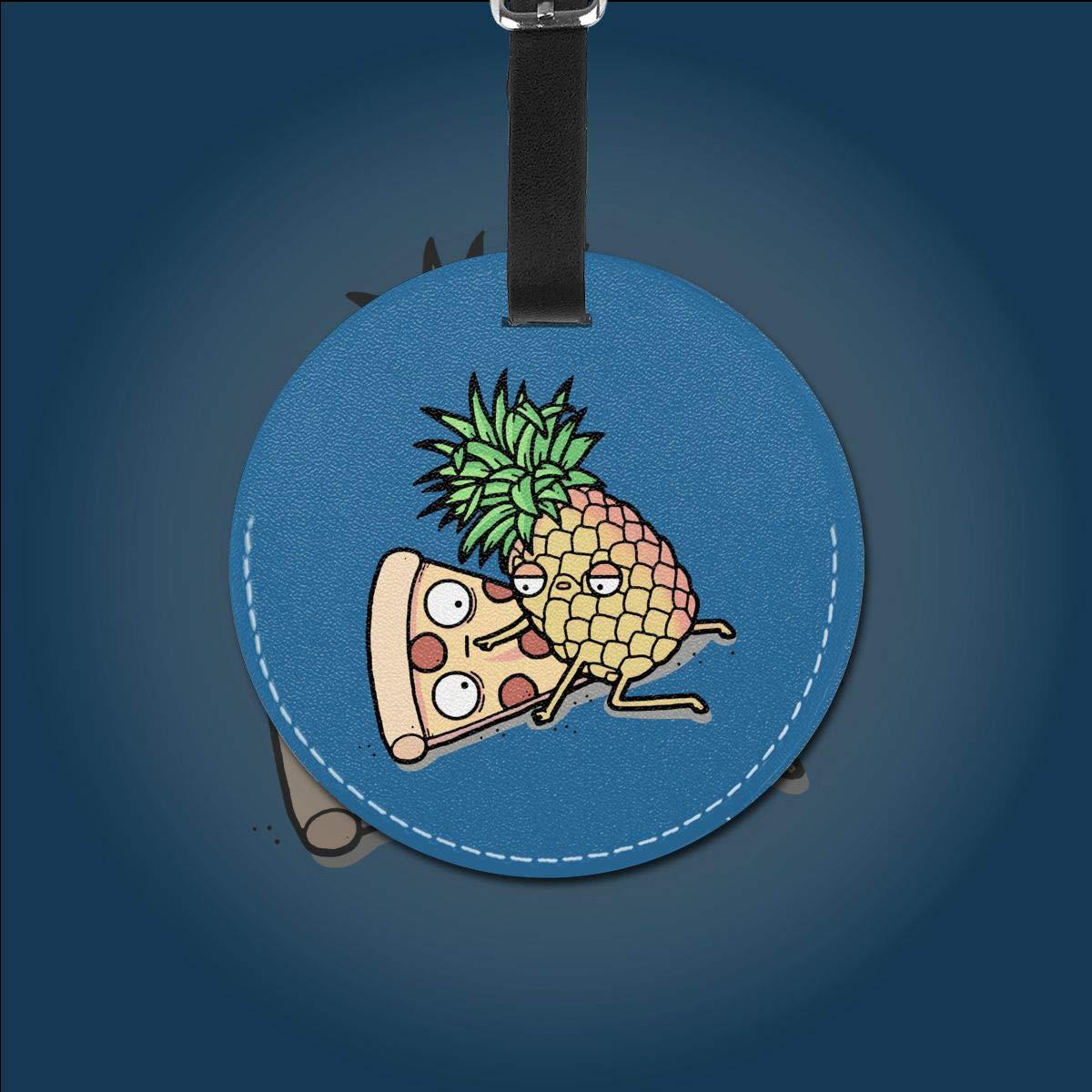 Pineapple Pizza Pu Leather Double Sides Print Round Luggage Tag Mutilple Packs 1pcs,2pcs,4pcs