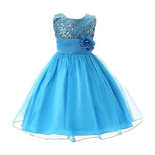 M2C Little Girls Party Dress Sequin Flower Wedding Dress Ball Gown Girl Sleeveless Dresses