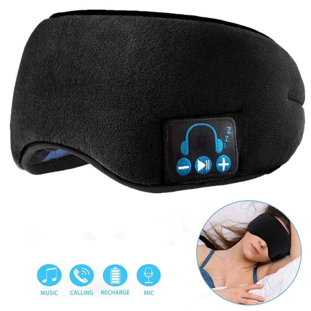 BearsFire Sleep Eye Mask with Wireless Bluetooth Headphones Soft Cotton Music Travel Sleeping Mask V5.0 Headsets Sleep Eye Shades Built-in Stereo Speakers Mic Handsfree Adjustable Washable (Black)
