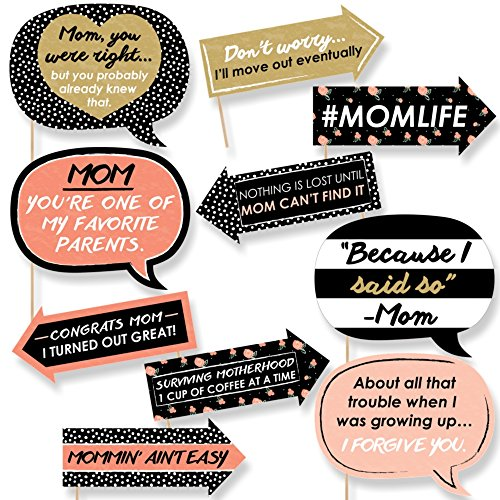 Funny Best Mom Ever - Mother's Day Photo Booth Props Kit - 10 Piece (Mothers Day Decorations)