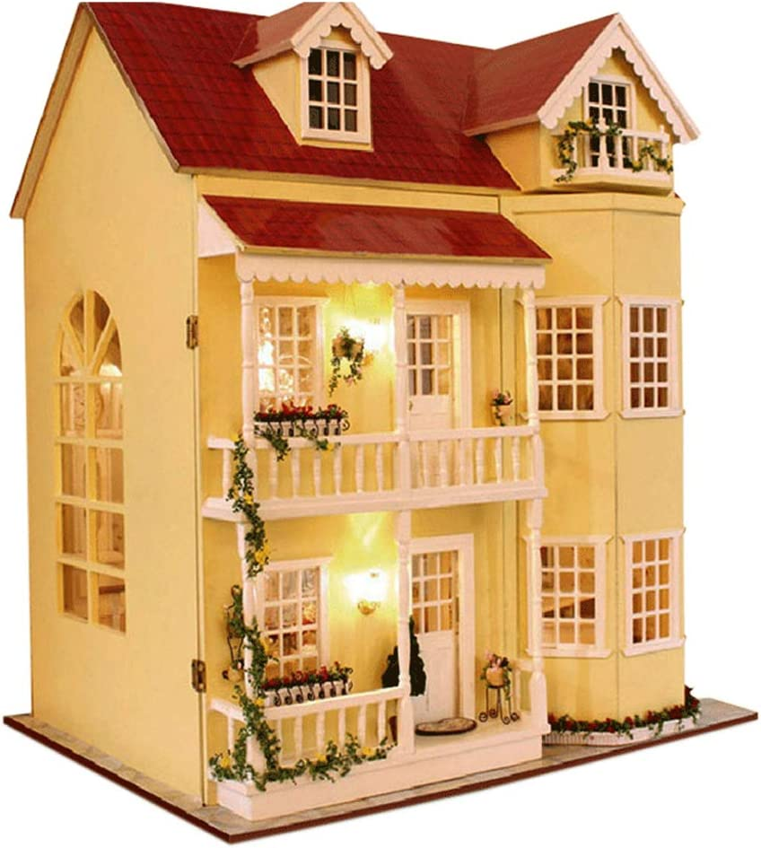 MAGQOO 3D Wooden DIY Miniature Dollhouse Kit DIY House Kit with Furniture 3D Puzzles Music Box and Glue Included(House of Fairy Tales)